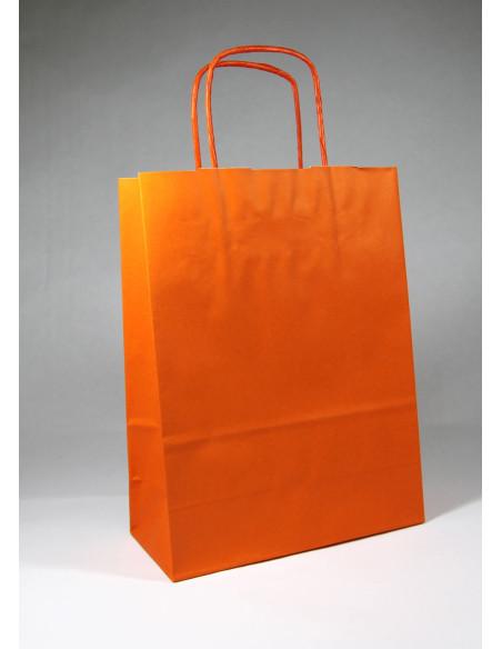 50 Sacs cabas kraft orange à poignées torsadées